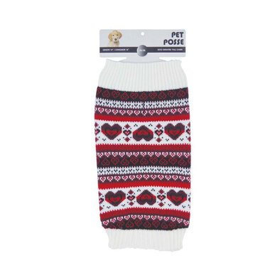 Fair Isle Sweater - Heart - Red