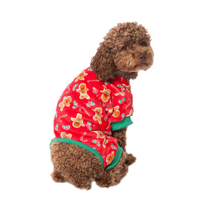 Pet Posse, Fleece Pajamas - Gingerbread - Red