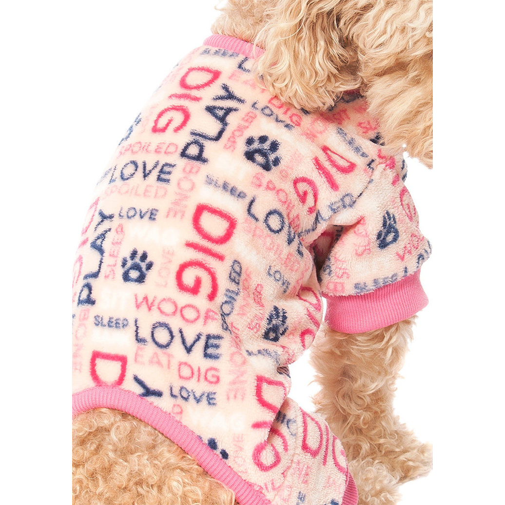 View larger image of Pet Posse, Fleece Pajamas Word - Pink