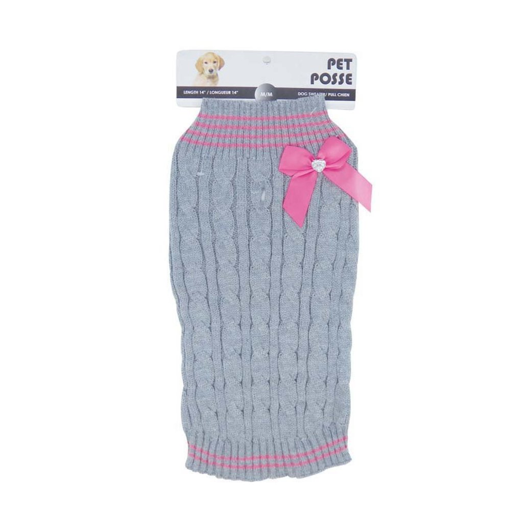 View larger image of Mock Neck Sweater - Cable Knit Bow - Pink