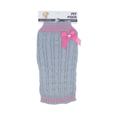 Mock Neck Sweater - Cable Knit Bow - Pink