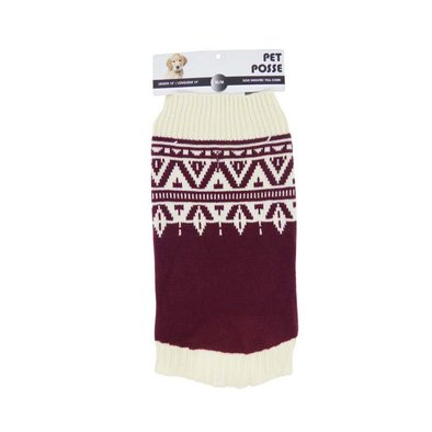 Mock Neck Sweater - Fair Isle - Burgundy