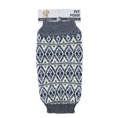 Mock Neck Sweater - Fair Isle - Heather Grey