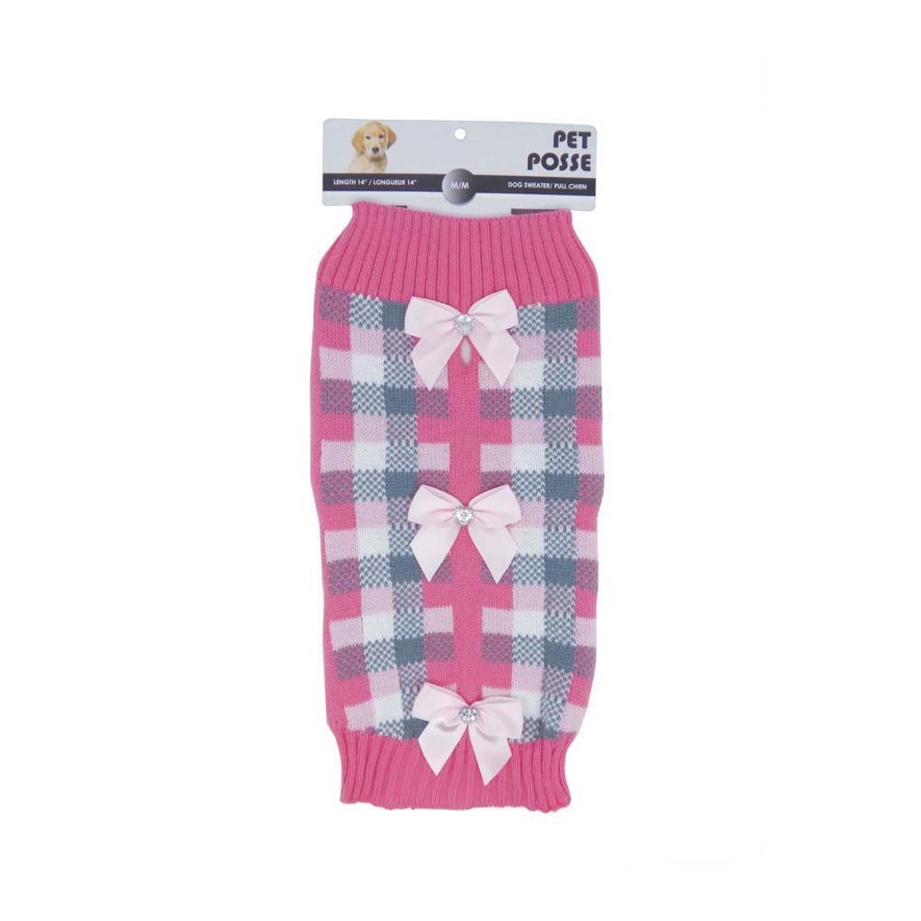 View larger image of Mock Neck Sweater - Plaid Bow - Pink
