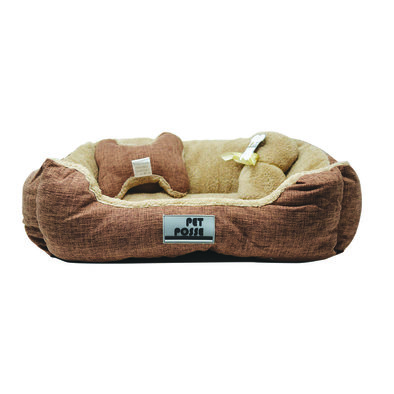 Pillow and Blanket Bed - Brown - 3 pc