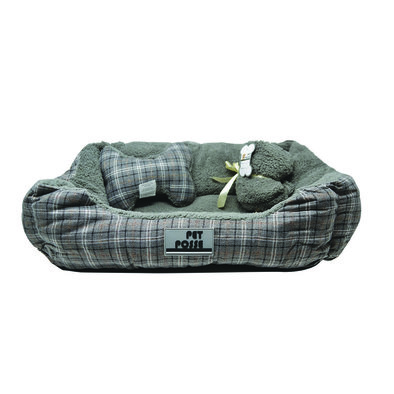 Pillow and Blanket Bed - Grey Plaid - 3 pc