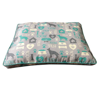 Pillow Bed - Dog Word Canvas - Grey - 30x40""