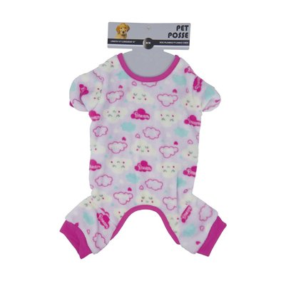 Plush Pajama - Cloud Print - Pink