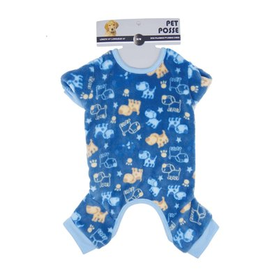 Plush Pajama - Dog Print - Navy Blue