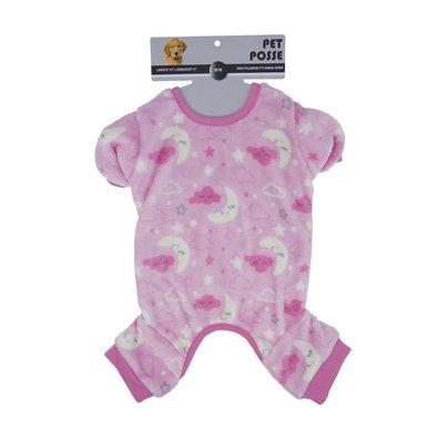 Plush Pajama - Moon Print - Soft Pink