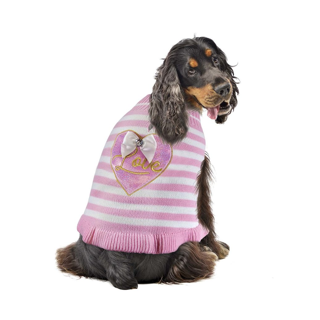 View larger image of Sweater Dress - Stripe Heart - Pink