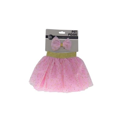 Tutu & Bow Set - Pink/Gold
