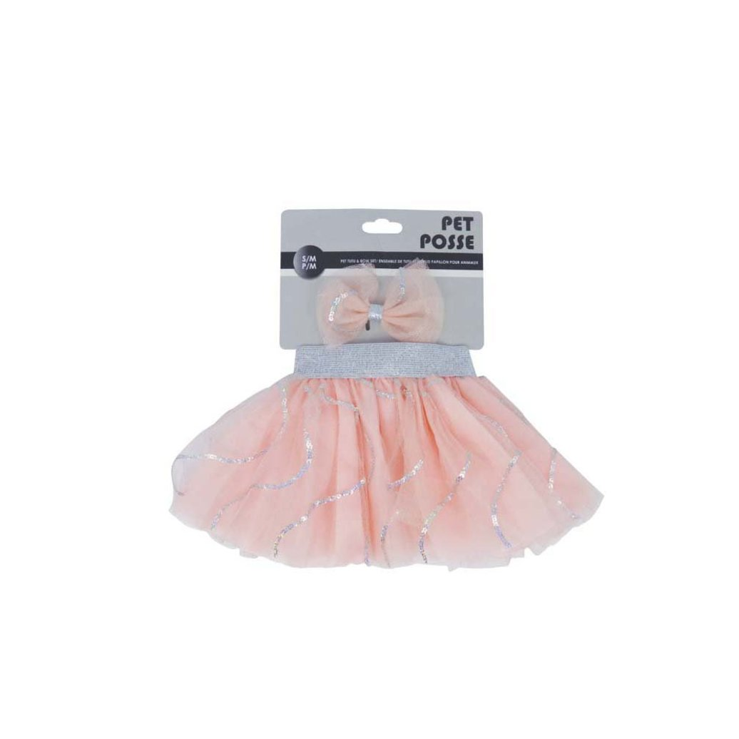 View larger image of Tutu & Bow Set - Pink/Silver
