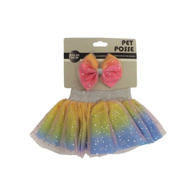 Tutu & Bow Set - Rainbow
