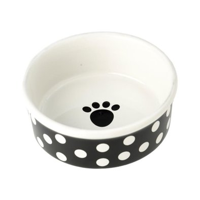 Dog Bowl, Poppy Dot - Black - 1.5 Cp