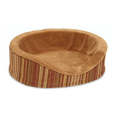 Deluxe Oval Lounger, Microban, Brown Suger & Strip Chenille - 18x14x5""