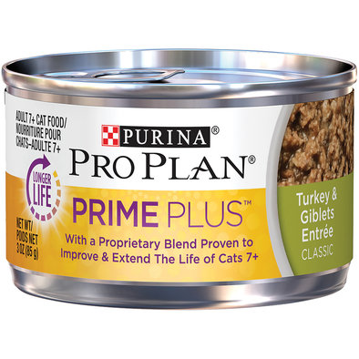 Prime Plus Adult 7+ Wet Cat Food, Turkey & Giblets 85 g