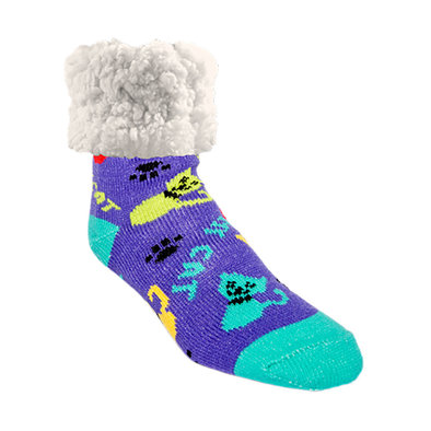 Slipper Socks - Cat Love - Purple