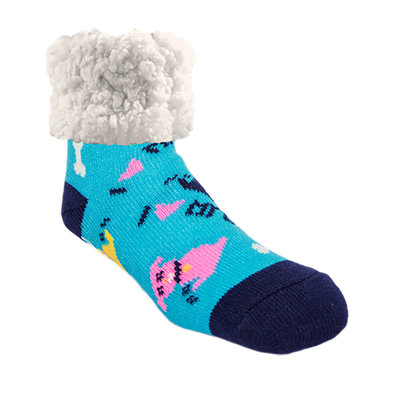 Slipper Socks - Dog Love - Blue