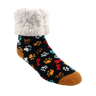 Slipper Socks - Dog Paw - Black