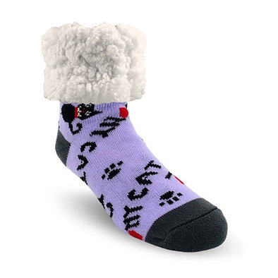 Slipper Socks - My Cat - Purple