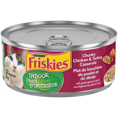 Purina, Friskies Indoor Wet Cat Food, Chunky Chicken & Turkey Casserole - 156 g