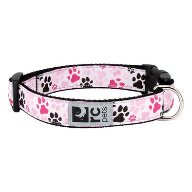 """Clip Collar - Pitter Patter Pink - 1"""" Width"""