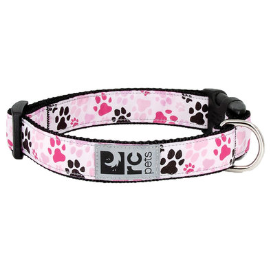 "Clip Collar - Pitter Patter Pink - 3/8"" Width - Small"