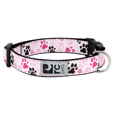 "Clip Collar - Pitter Patter Pink - 5/8"" Width - X-Small"