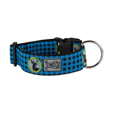 Wide Clip Collar - Blue Buffalo Plaid