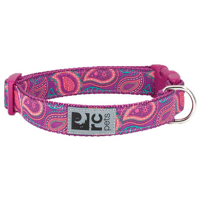 "Clip Collar - Bright Paisley - 5/8"" Width"