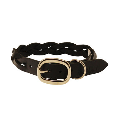 Collar - Leather 3 Ply Braided - Black