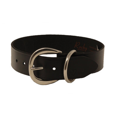 Collar - Leather Wide - Black - No studs