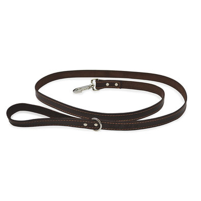 Leash - Leather Matching Top Stitch - Brown - 6'