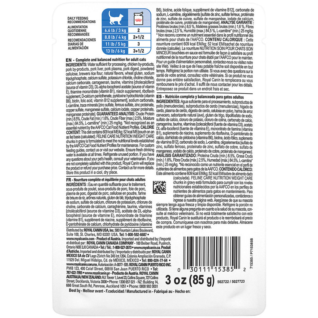 View larger image of Feline Care Nutrition Pouch, Weight Care