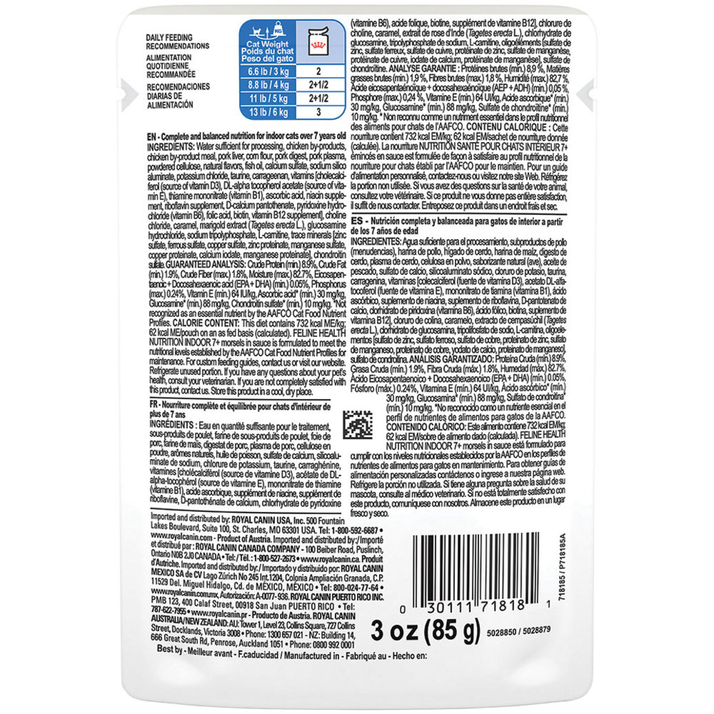 View larger image of Feline Health Nutrition Indoor 7+ Morsels in Sauce Pouch - 85 g
