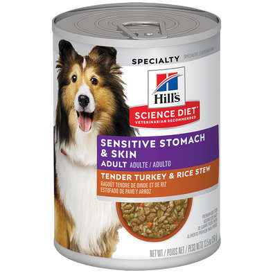 Adult Sensitive Stomach & Skin Tender Turkey & Rice Stew Canned Dog Food, 363 g