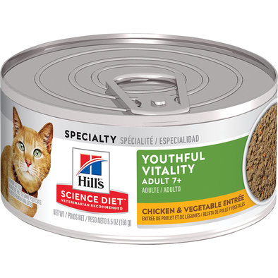 Adult 7+ Youthful Vitality Chicken & Vegetable Entrée Canned Cat Food, 156 g