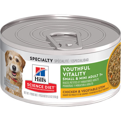 Adult 7+ Youthful Vitality Small & Mini Chicken & Vegetable Stew Canned Dog Food