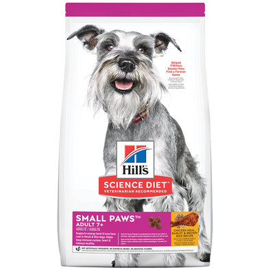 Adult 7+ Small Paws Chicken Meal, Barley & Brown Rice Recipe Dry Dog Food, 2.04 kg