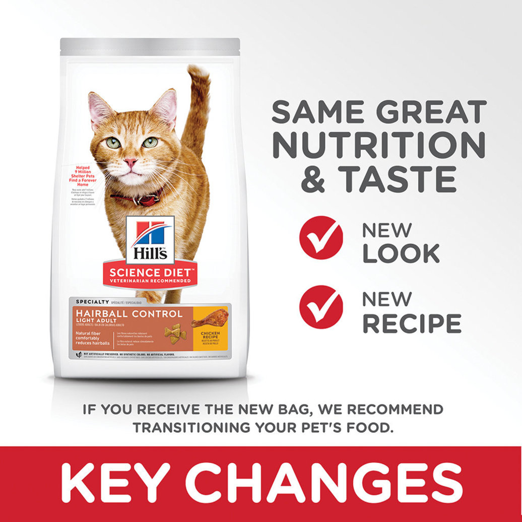 View larger image of Adult Hairball Control Light Chicken Recipe Dry Cat Food for healthy weight management
