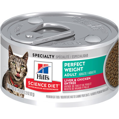 Adult Perfect Weight Liver & Chicken Canned Cat Food for healthy weight management