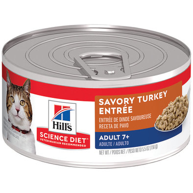 Adult 7+ Savory Turkey Canned Cat Food, 156 g