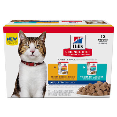 Adult 7+ Tender Dinners Wet Cat Food Variety 12 Pack - 80 g