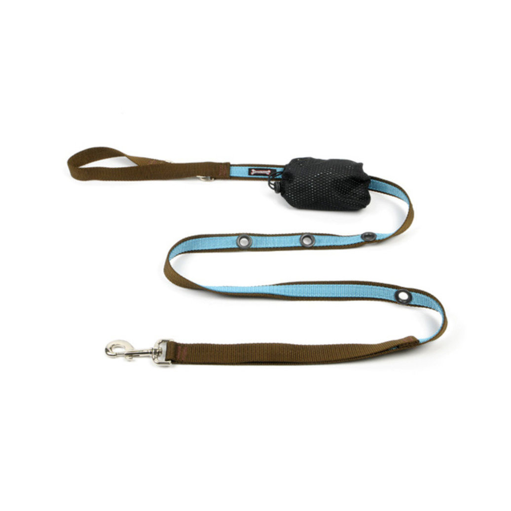 "View larger image of 2-Tone Optional Hands Free Lead - Turquoise/Brown - 1"" Width - 6'"