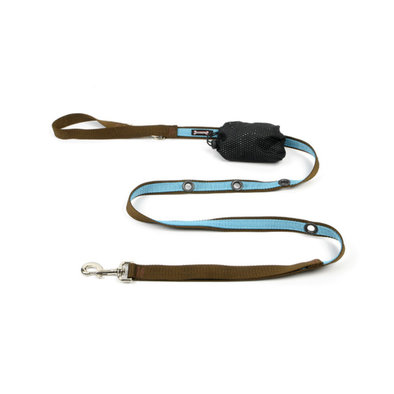 "2-Tone Optional Hands Free Lead - Turquoise/Brown - 1"" Width - 6'"