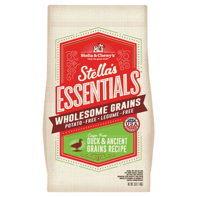Dog Stella's Essentials Kibble with Wholesome Grains, Cage-Free Duck Recipe