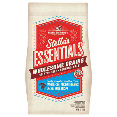 Dog Stella's Essentials Kibble with Wholesome Grains, Wild-Caught Whitefish & Salmon Recipe