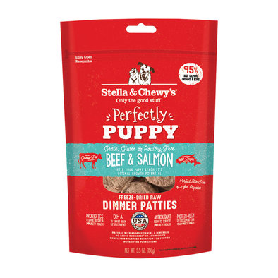 Dog Freeze-Dried Raw, Perfectly Puppy Beef and Salmon Patties