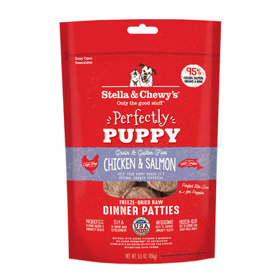 Dog Freeze-Dried Raw, Perfectly Puppy Chicken and Salmon Patties